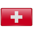 Flags Switzerland in the form of a magnet on vector image vector image