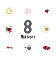 flat icon amour set of patisserie emotion soul vector image vector image