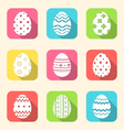 flat icon of Easter ornate eggs long shadow style vector image vector image