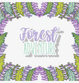 forest adventure with nature plants leaves vector image