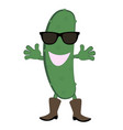 funny cartoon cucumber with dark glasses vector image