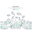 graduation - colorful line design style web banner vector image