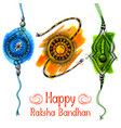 greeting card with decorative rakhi for raksha vector image vector image