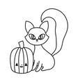 happy halloween celebration cat and pumpkin vector image