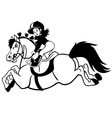 happy pony black white vector image vector image