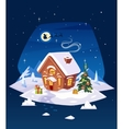 house in the forest christmas card poster vector image
