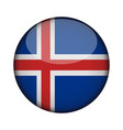 iceland flag in glossy round button of icon vector image