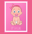 its a girl poster dedicated to baby shower day vector image vector image