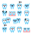 Kawaii Tooth cute teeth characters - icon vector image vector image