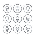 led light bulbs icons set on white vector image vector image