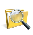 Magnifying glass over the yellow folder vector image vector image