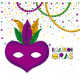 mardi gras poster with purple carnival mask with vector image
