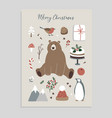 merry christmas greeting card invitation set vector image