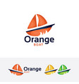 orange boat logo vector image vector image