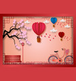 paper art style of balloons shape of heart flying vector image vector image