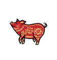 pig for happy chinese new year celebration in red vector image
