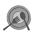 plate with fork and spoon icon image vector image