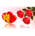 red roses and red ribbons vector image