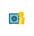 safe wit coins stack flat icon vector image vector image