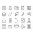 sauna equipment simple black line icons set vector image vector image