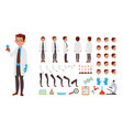 scientist man animated character creation vector image