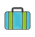 scribble blue suitcase cartoon vector image