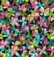 Seamless pattern of colored butterflies on black vector image