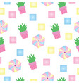seamless pattern with cactus and colorful shapes vector image