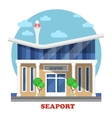 Seaport at seasight building exterior view vector image vector image