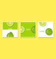 set of fruit banners with lime in paper art style vector image vector image