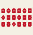 set of red label templates different shapes vector image vector image