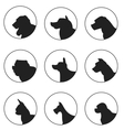 Set of silhouette dogs heads vector image vector image