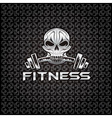 silver fitness skull vector image vector image