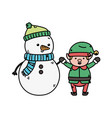 snowman and elf holding hands decoration merry vector image