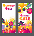 summer sale banners with colorful elements sun vector image