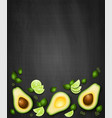 top view background with realistic avocado vector image vector image