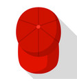 top view of red baseball cap icon flat style vector image vector image