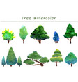 trees watercolor hand painting collection vector image