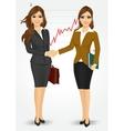 two businesswomen shaking hands vector image vector image