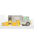 unloading or loading trucks shipping cargo vector image vector image