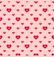 valentines day seamless pattern with red hearts vector image