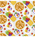 waffles with fruits and decoration served dessert vector image
