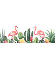 watercolor banner tropical flowers vector image vector image