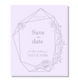wedding invitation design with floral frame vector image