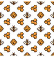 yellow bee bee hive and honeycomb on white vector image