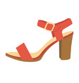 red female sandal on heel isolated cartoon vector image