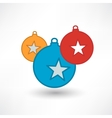 decorations on Christmas tree with stars vector image