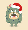 angry cute monster with red hat vector image
