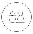 boy and girl black icon outline in circle image vector image