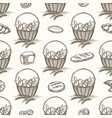 bread basket and buns seamless pattern vector image
